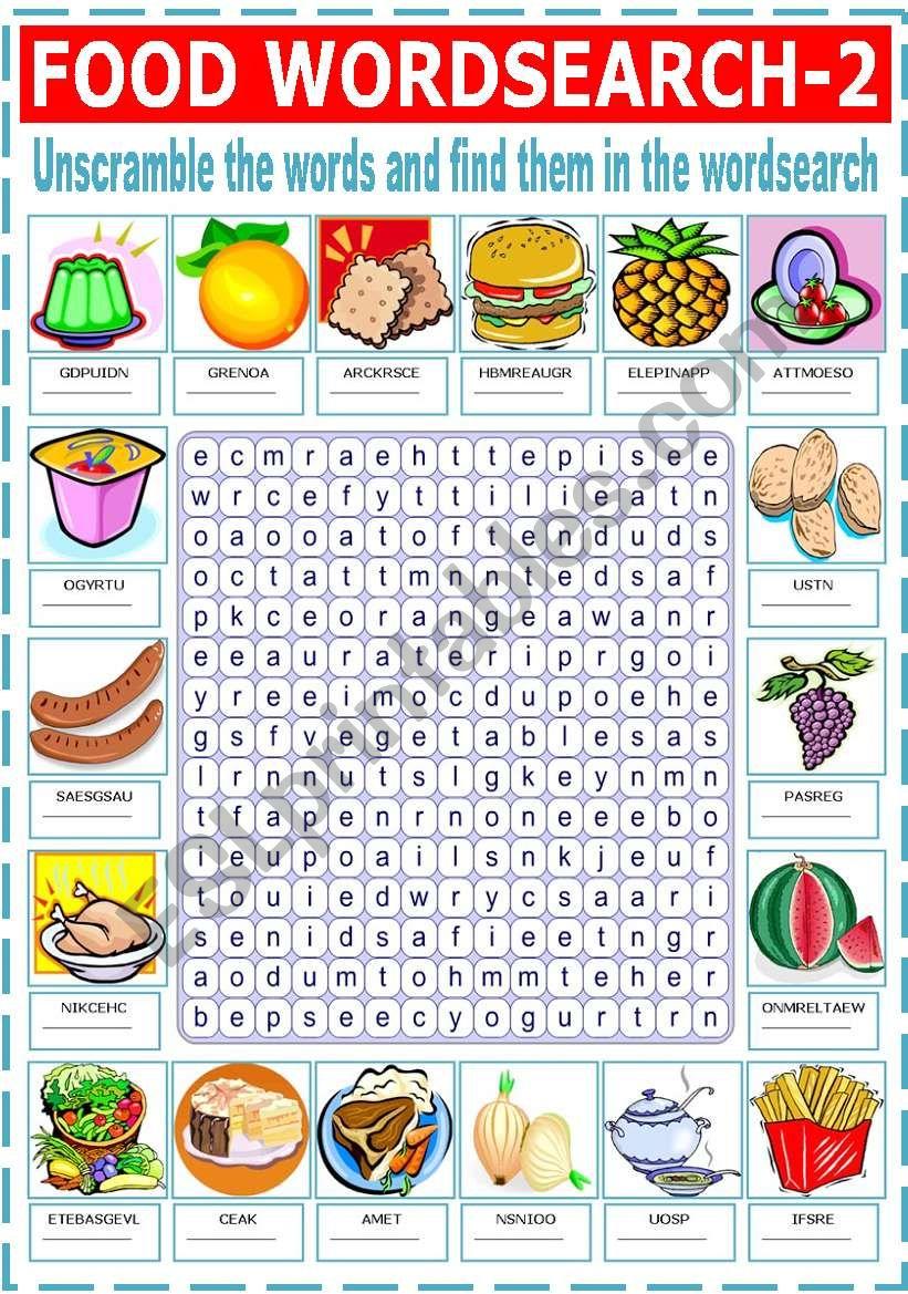 FOOD WORDSEARCH -2 worksheet