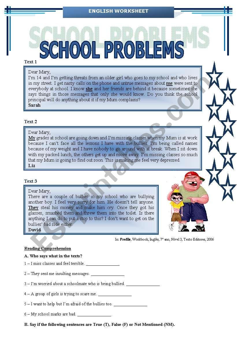 SCHOOL PROBLEMS (BULLYING) worksheet