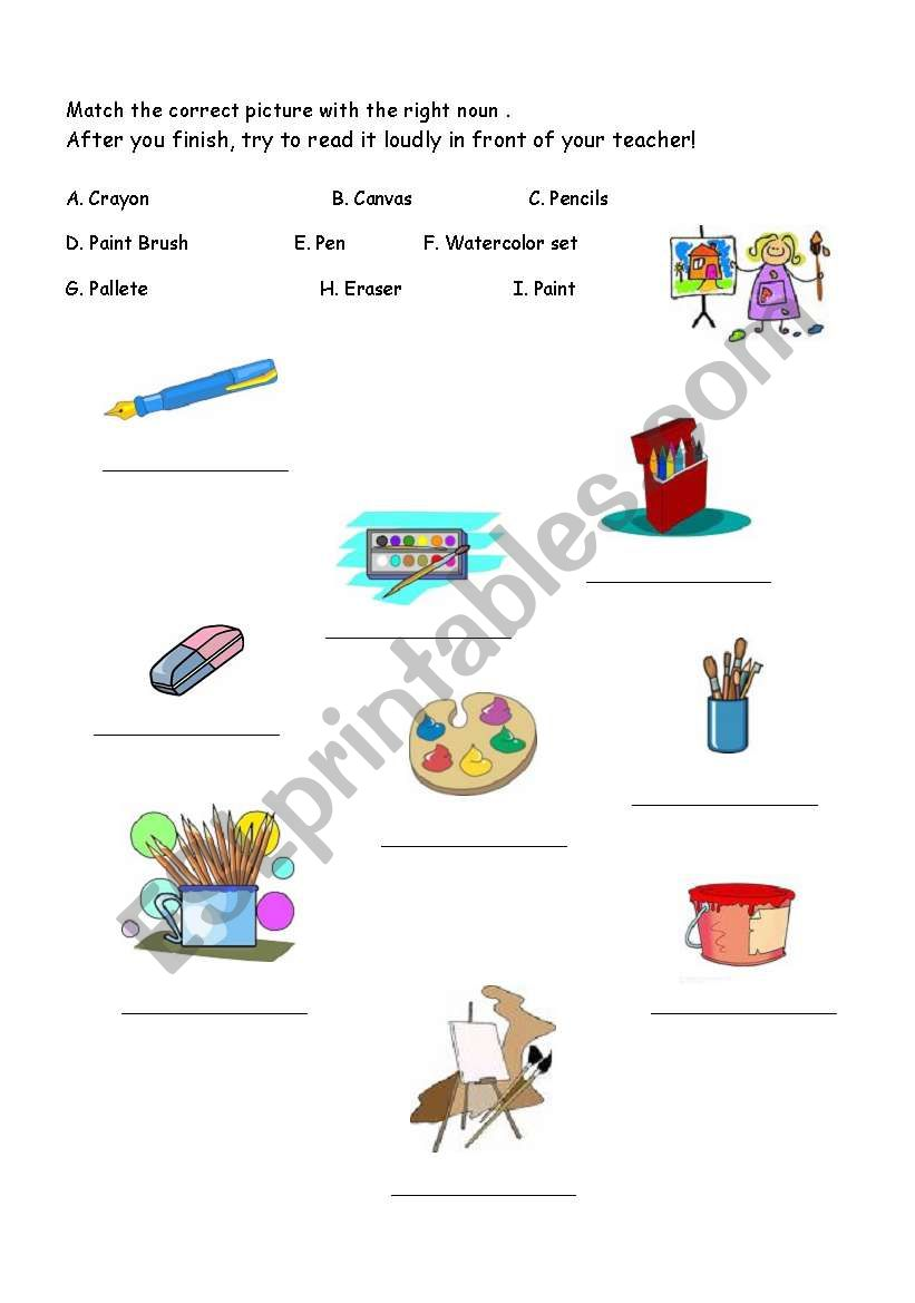 Art Handouts And Worksheets : Art supplies esl worksheet by xiang