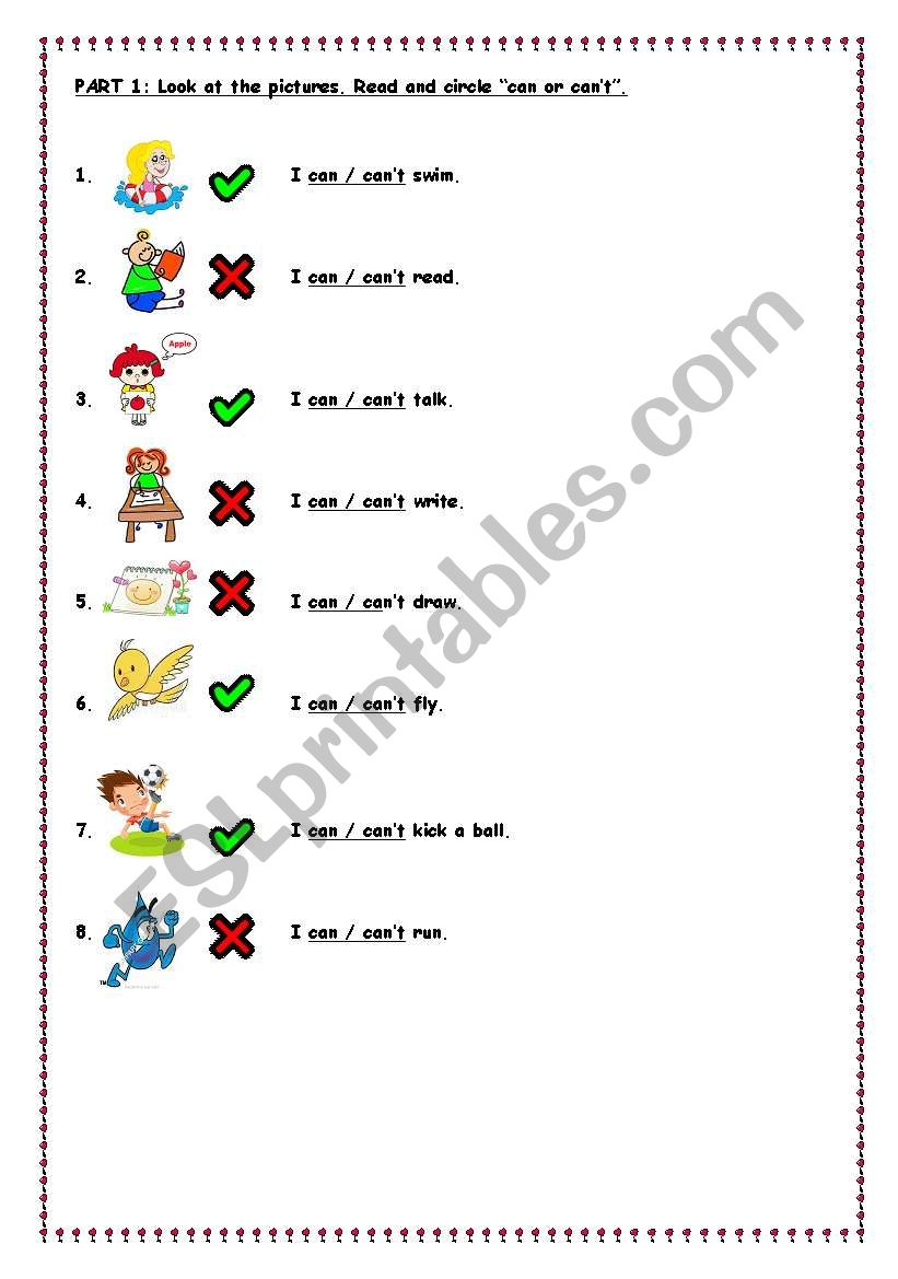 can can ´t worksheet