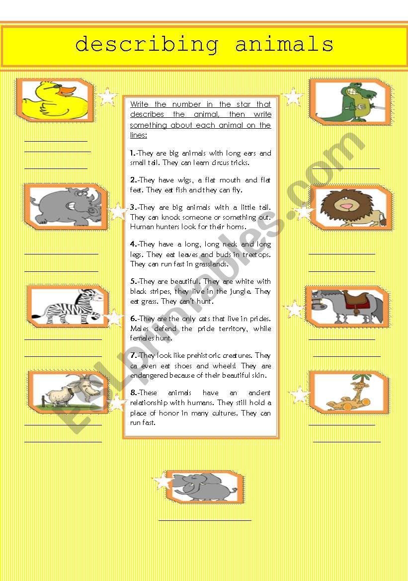 describing animals esl worksheet by julietavl. Black Bedroom Furniture Sets. Home Design Ideas
