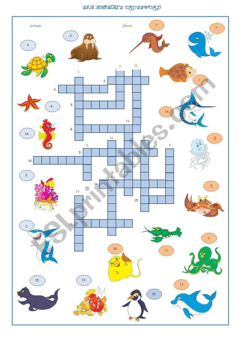 Sea Animals Crossword worksheet