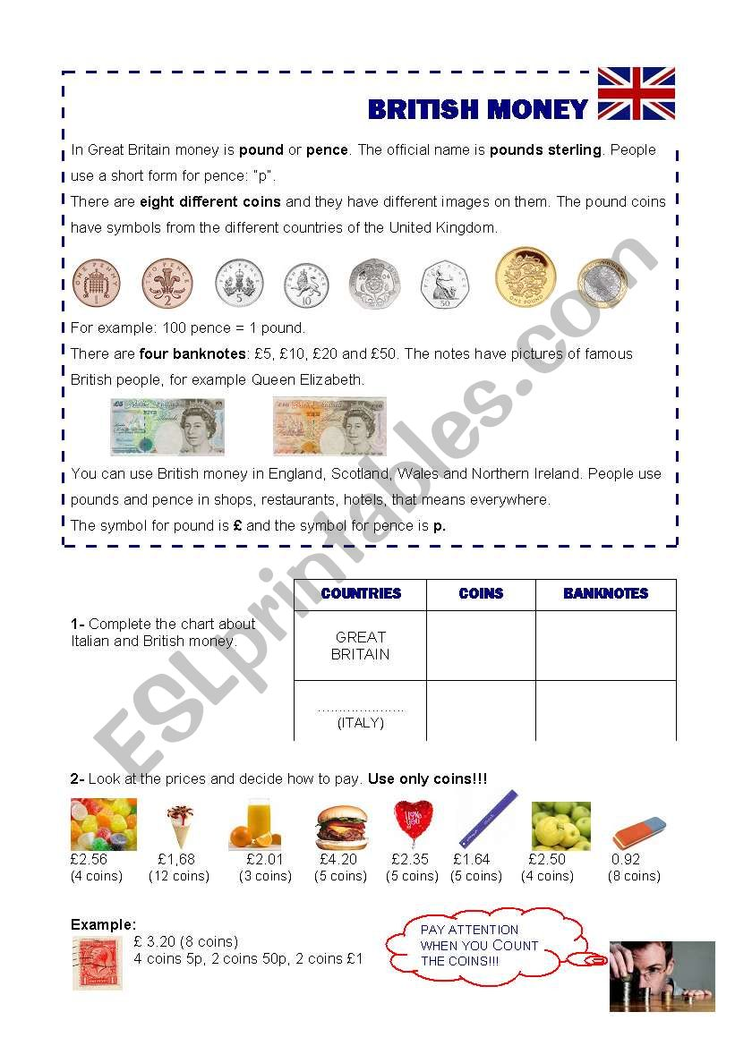 British money worksheet