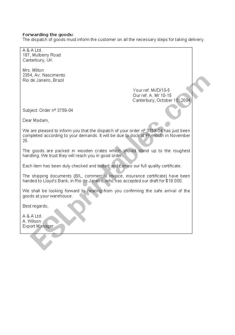 Business English A Formal Letter Forwarding Goods