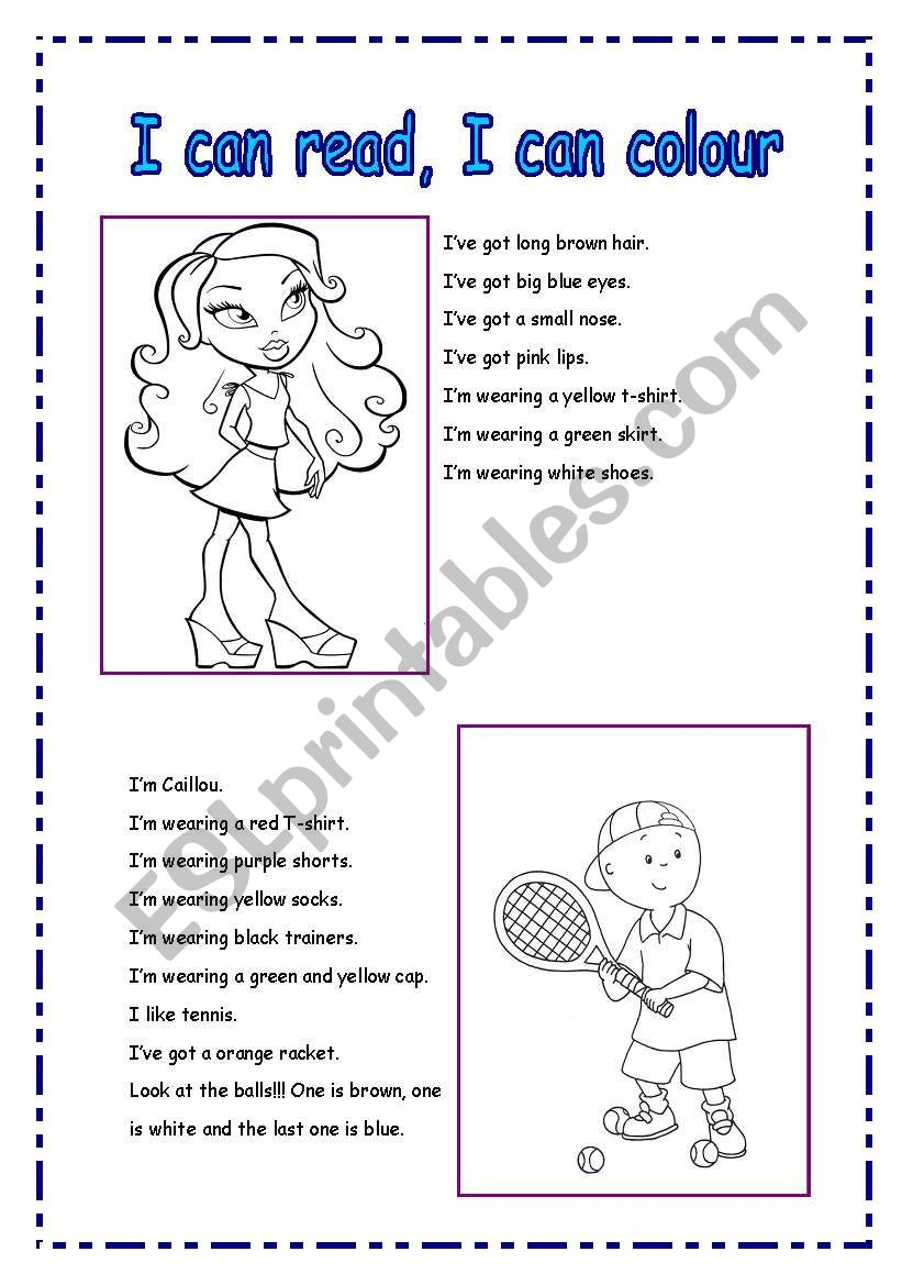 Read and colour worksheet