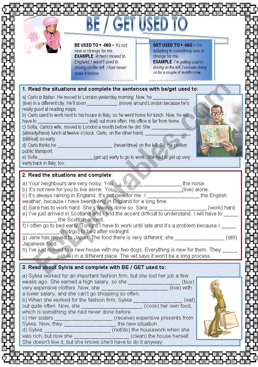 Be or Get used to worksheet