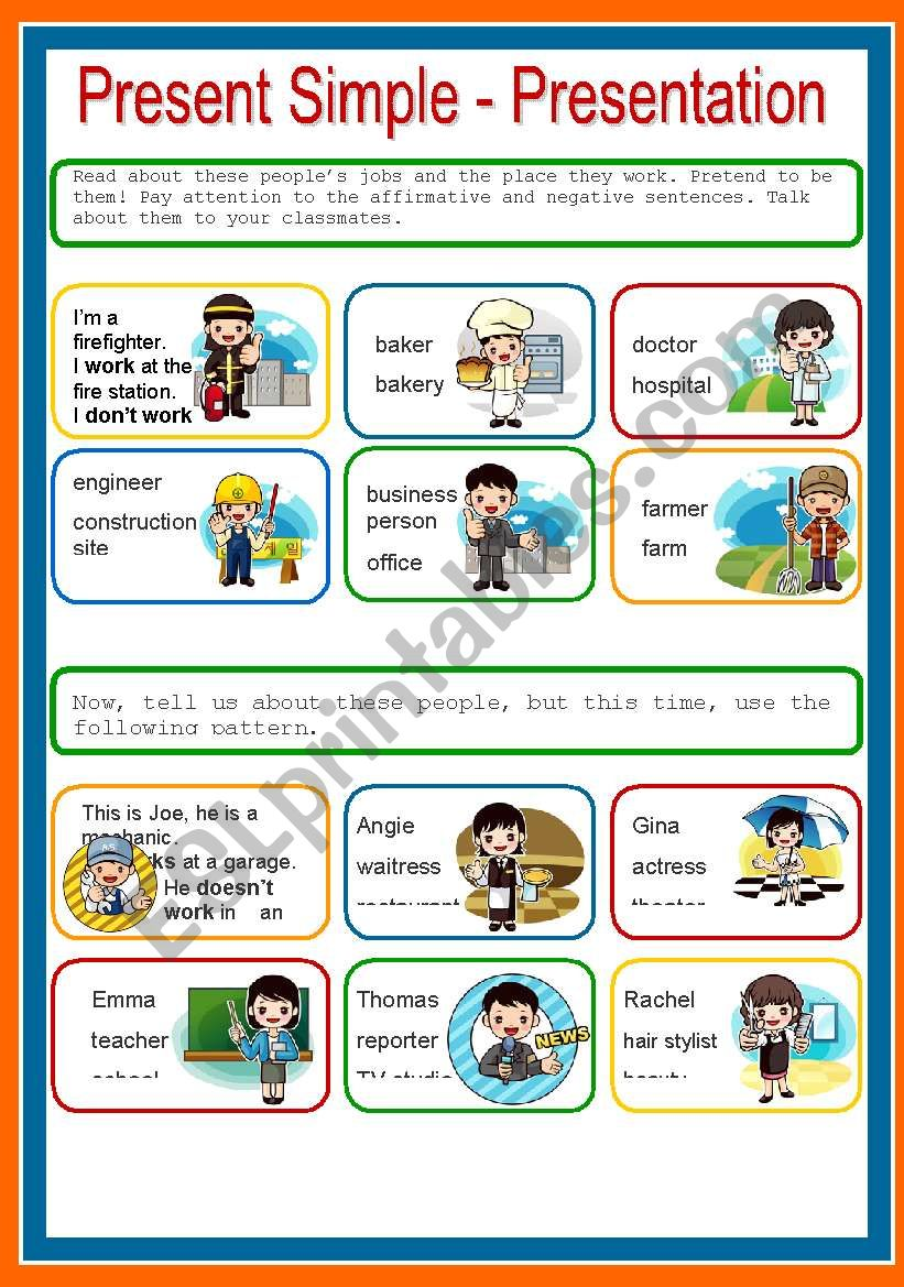 PRESENT SIMPLE, PRESENTATION worksheet