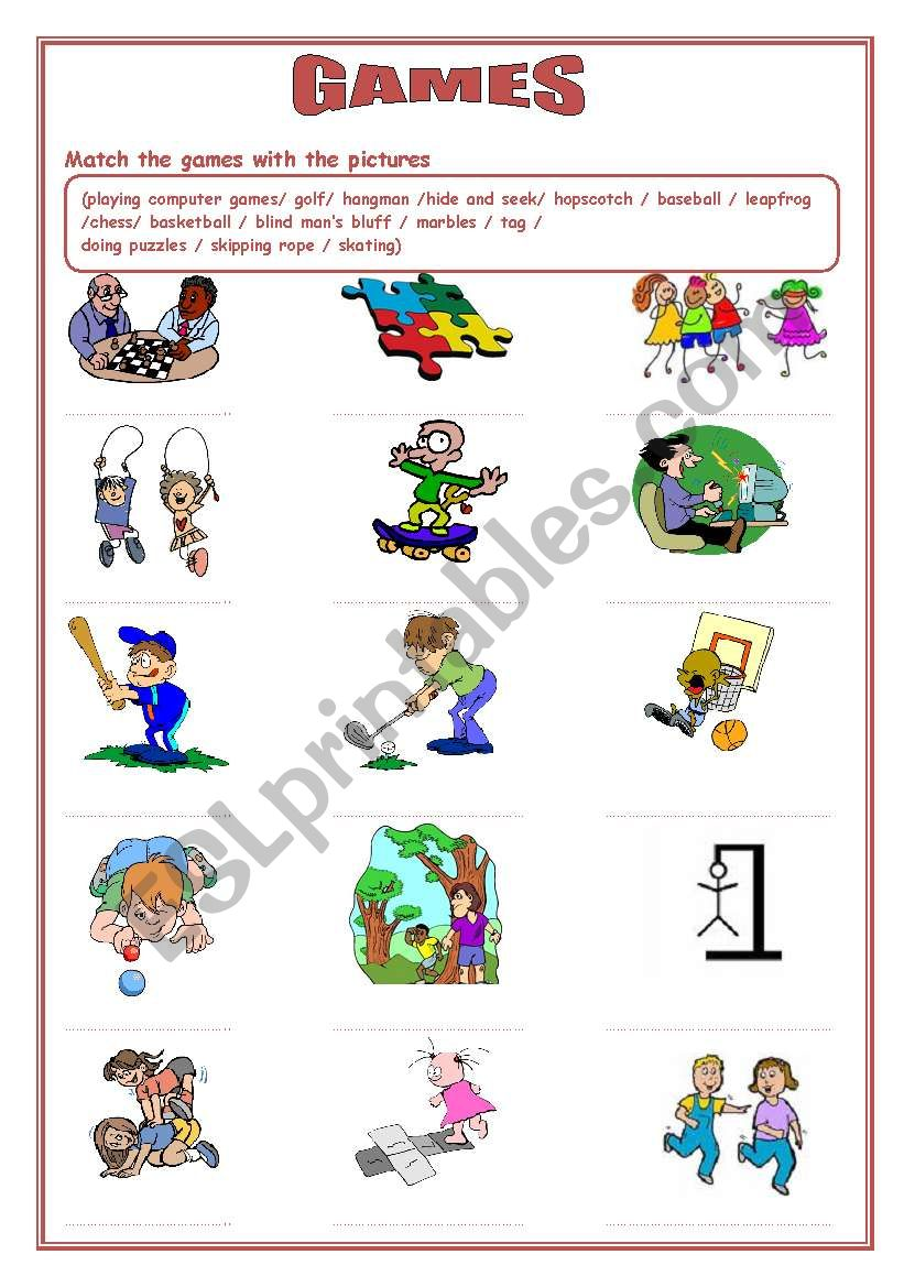 games and sports esl worksheet by nigyy. Black Bedroom Furniture Sets. Home Design Ideas