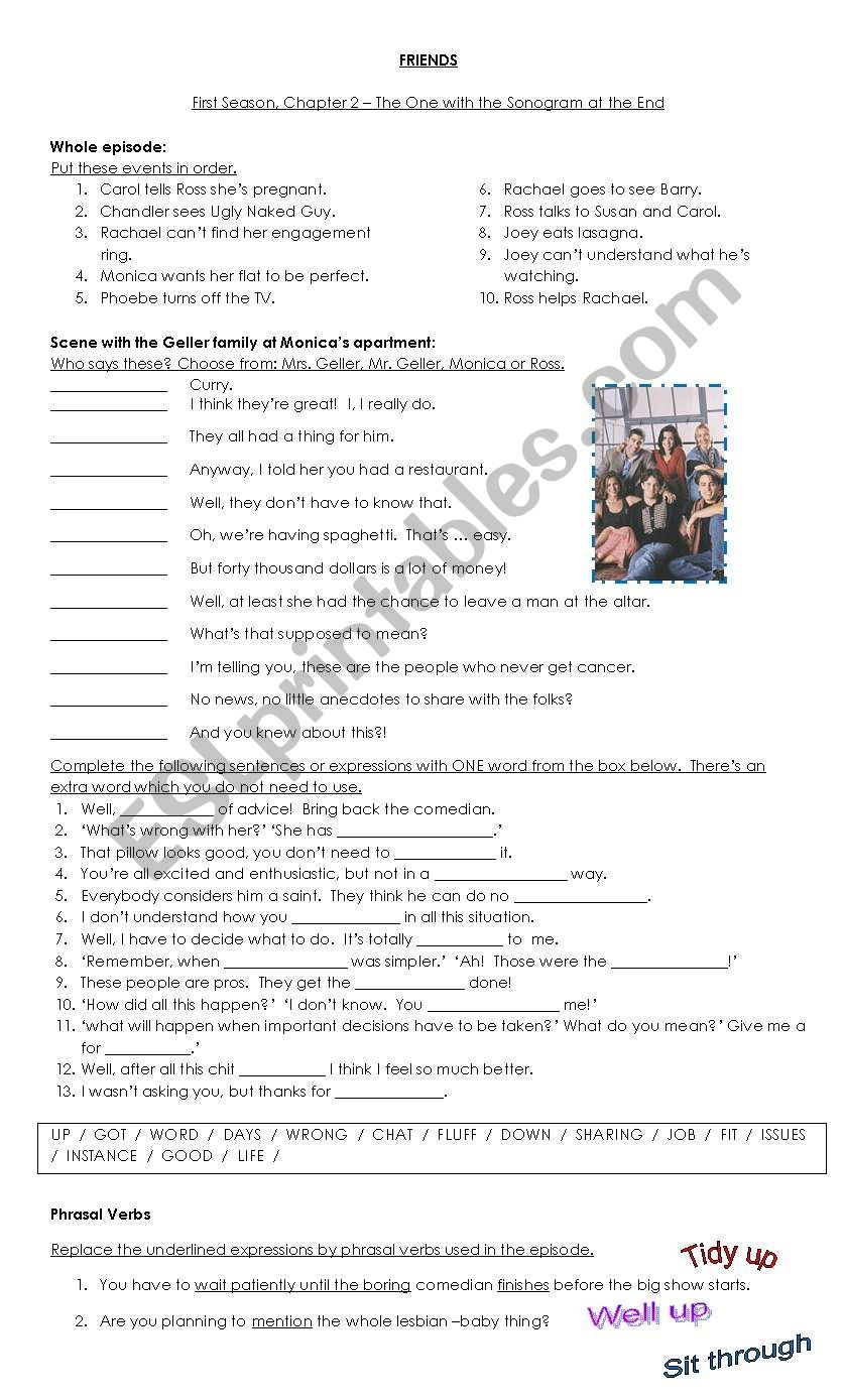 Sitcom: FRIENDS, Season 1 episode 2 - ESL worksheet by jandra