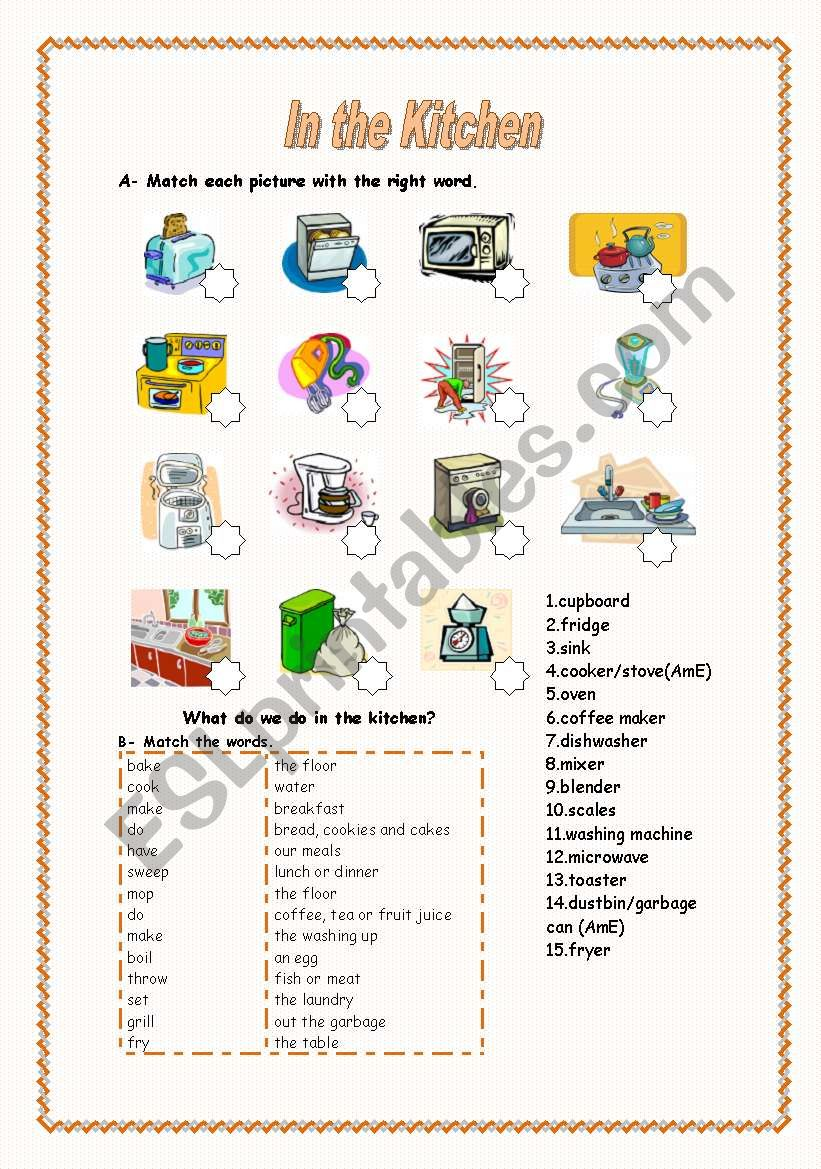 In the Kitchen (1/2) - Kitchen Appliances, Activities and Cooking Verbs