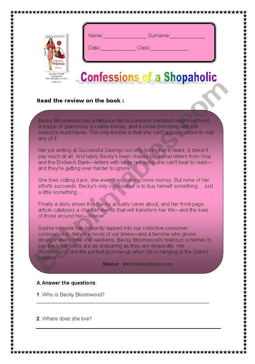 Nice worksheet on tha book Shopaholic Confessions!
