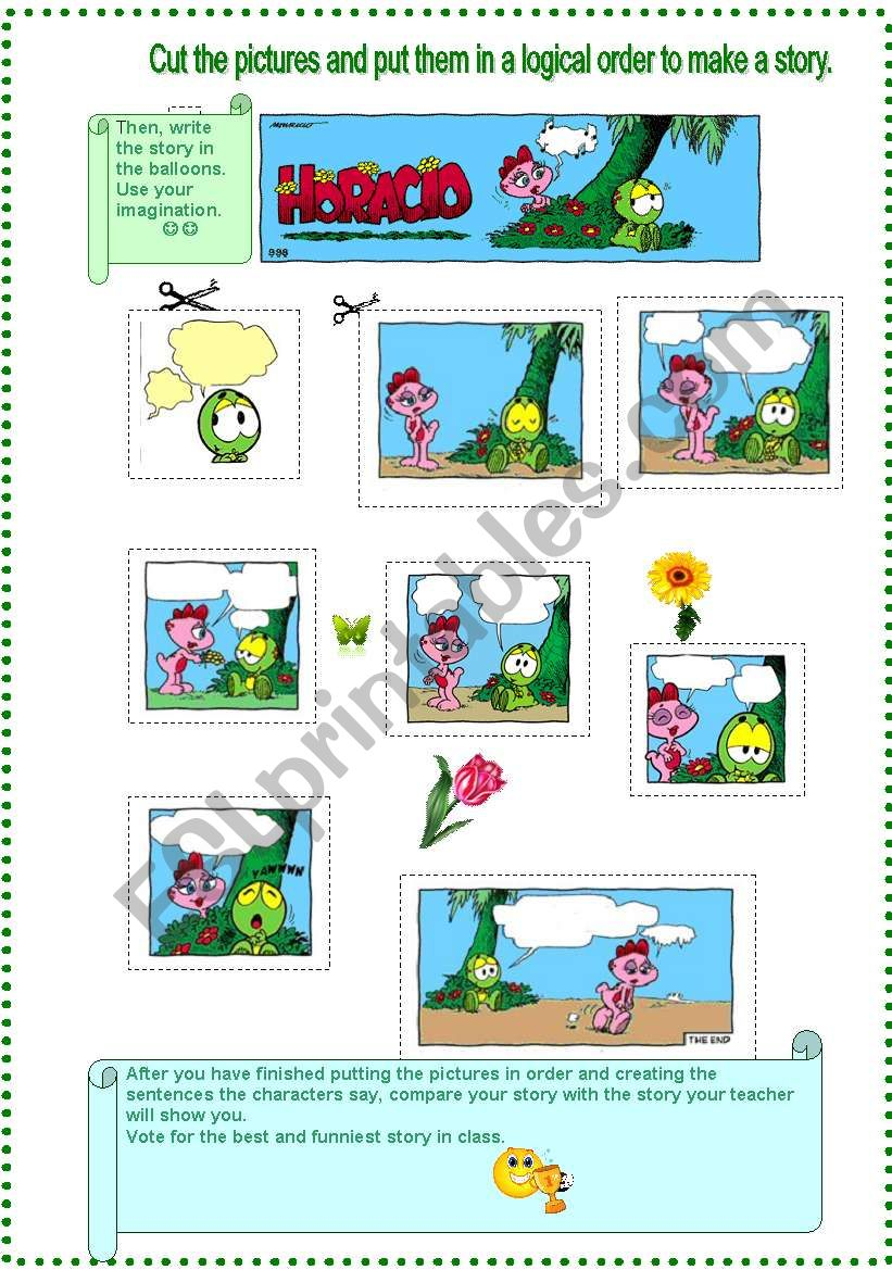 Creating A Story After Putting Pictures In Order Esl Worksheet By