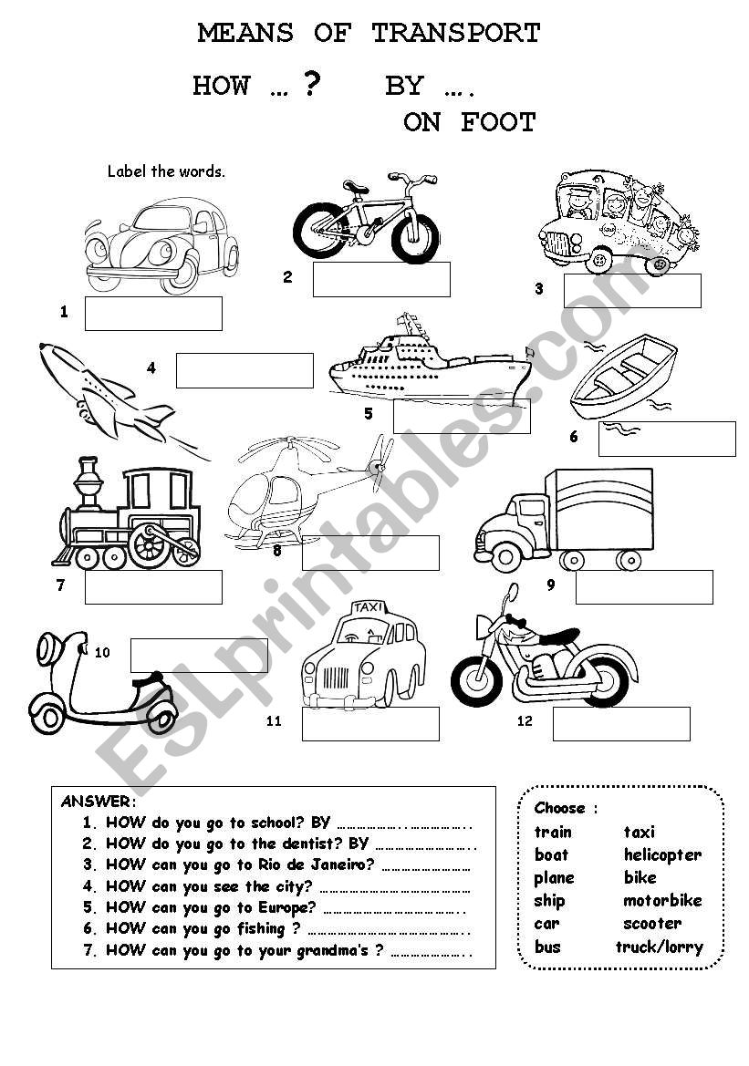 means of transport esl worksheet by fabiola salinas. Black Bedroom Furniture Sets. Home Design Ideas