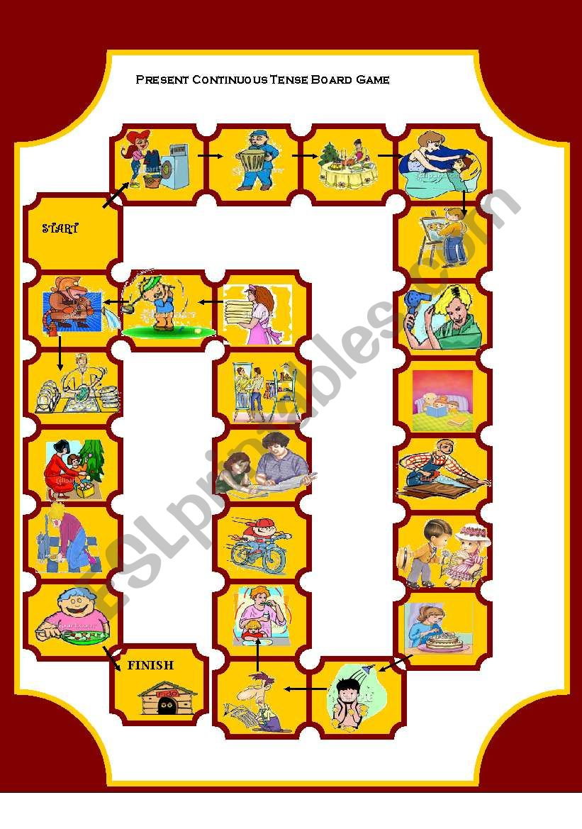 Board Game on Present Continuous Tense