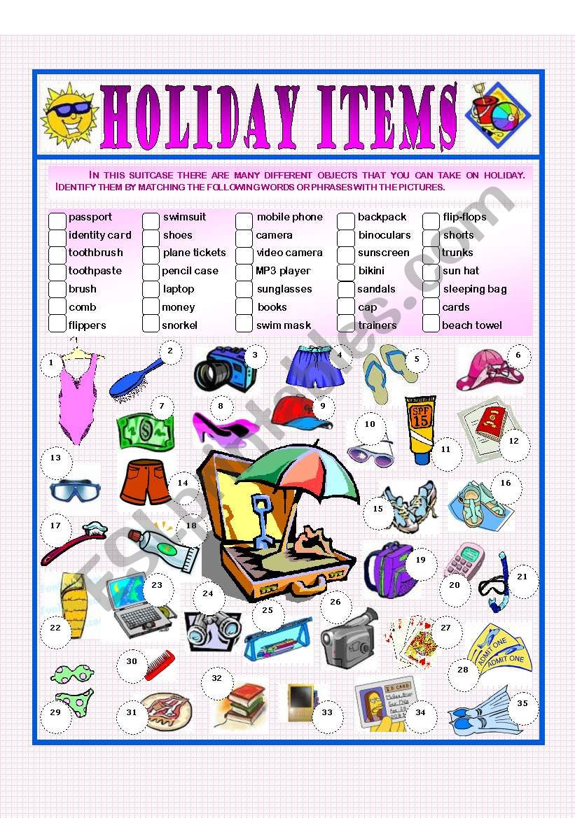 Holiday Items worksheet
