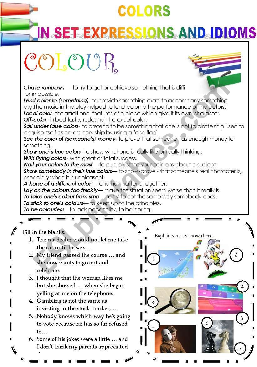 COLORS IN SET EXPRESSIONS AND IN IDIOMS! (PART 13) COLOR