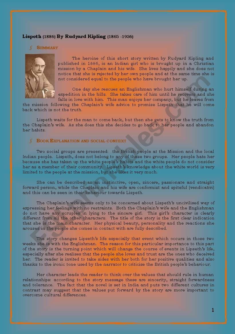 Lispeth by Rudyard Kipling worksheet