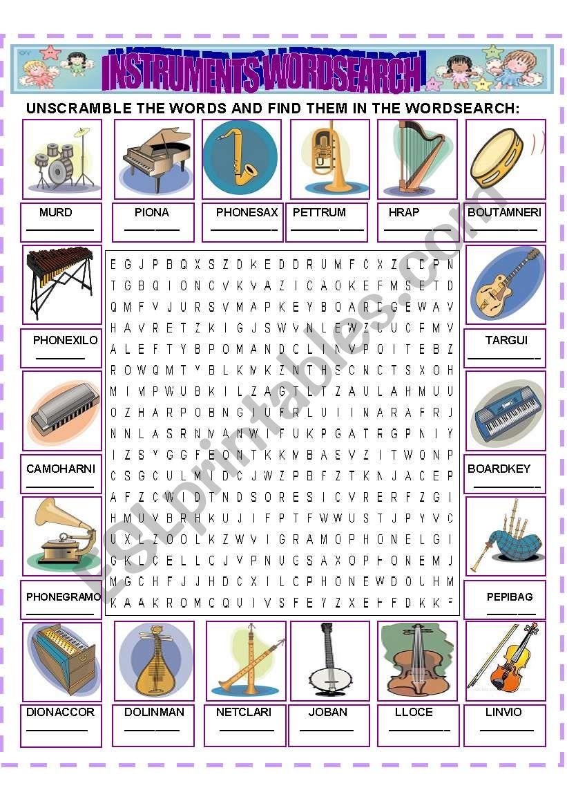 INSTRUMENTS WORDSEARCH worksheet