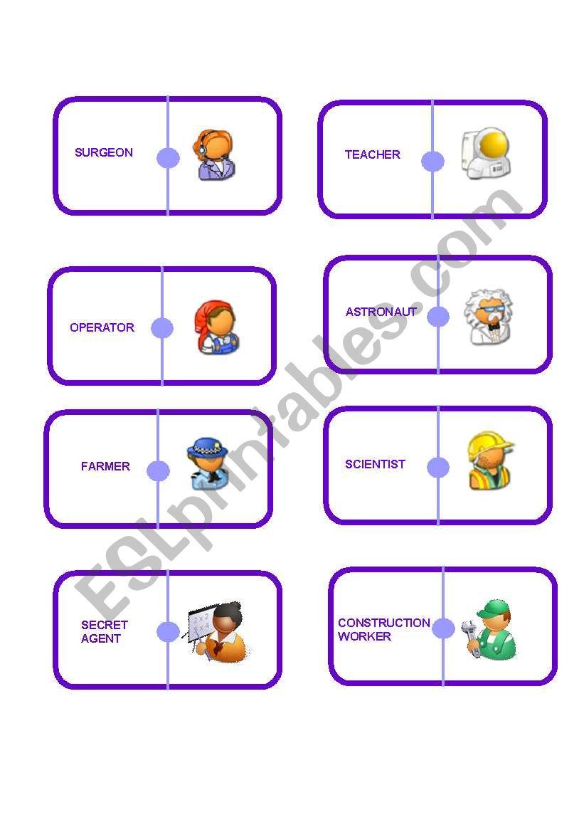 Jobs dominoe worksheet