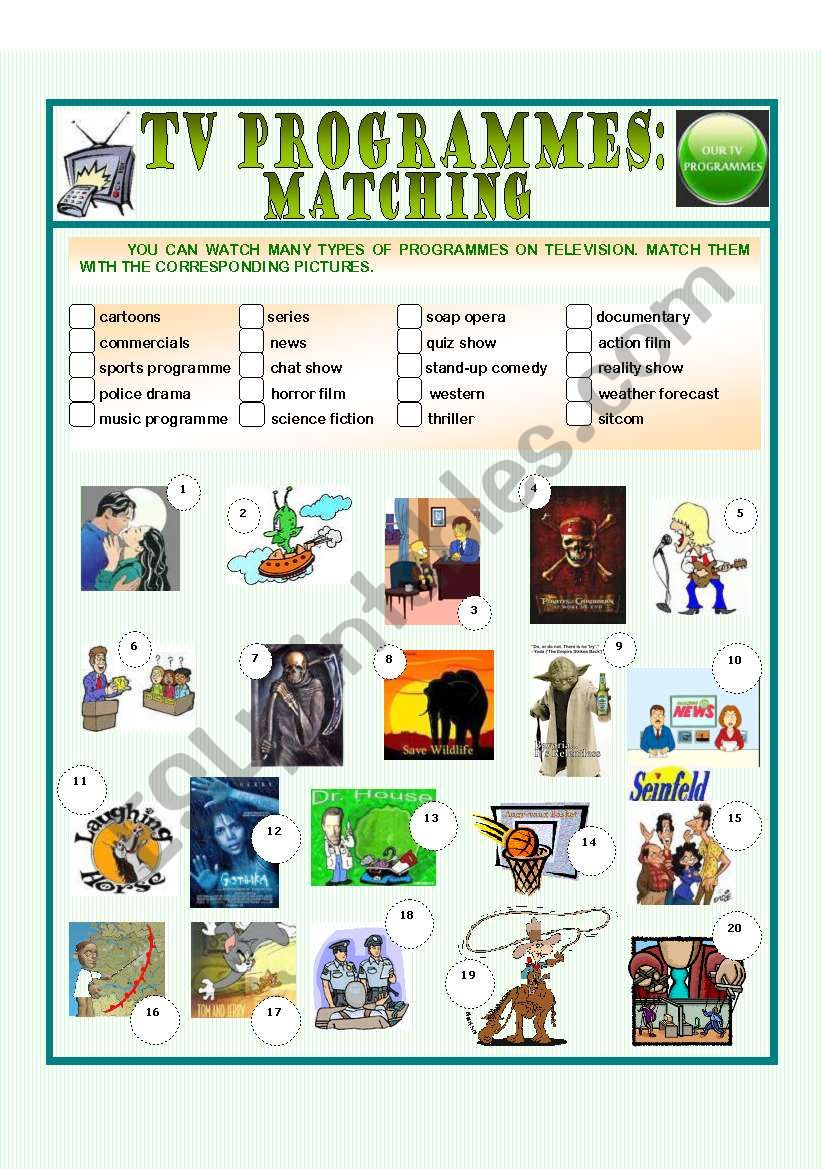 TV programmes: matching worksheet