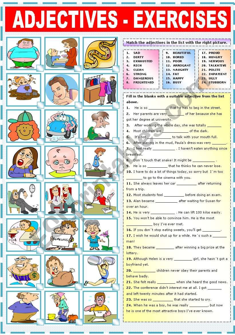 ADJECTIVES - EXERCISES worksheet