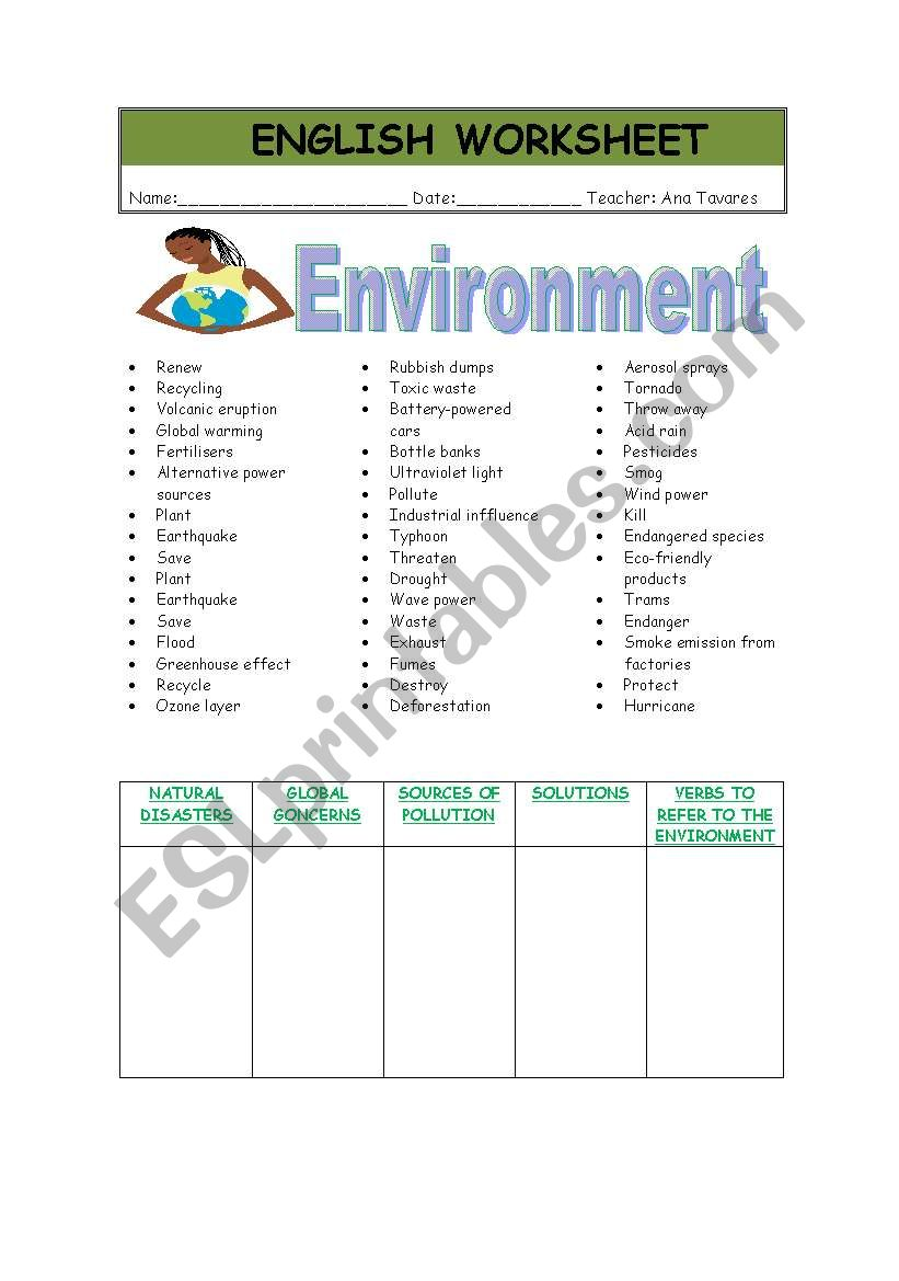 vocabulary of environment esl worksheet by aluaptavares. Black Bedroom Furniture Sets. Home Design Ideas