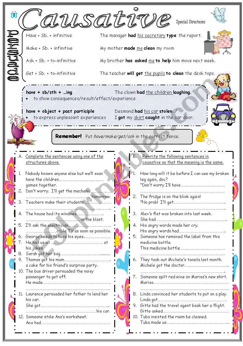 Causative: Special Structures worksheet