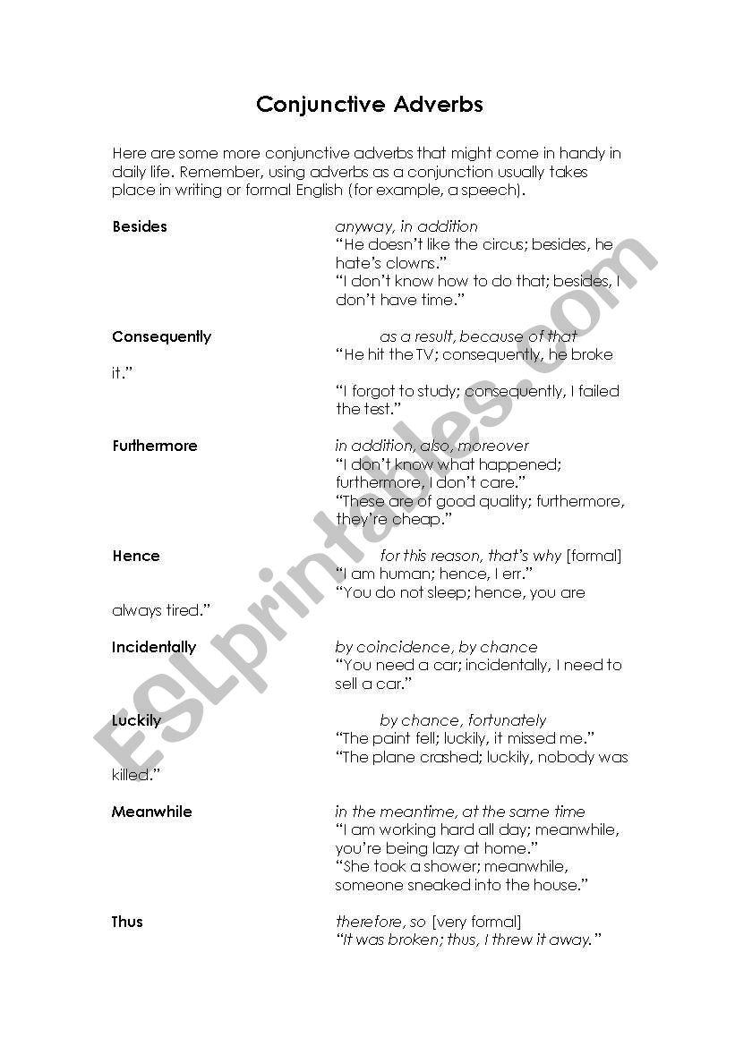 More Conjunctive Adverbs worksheet