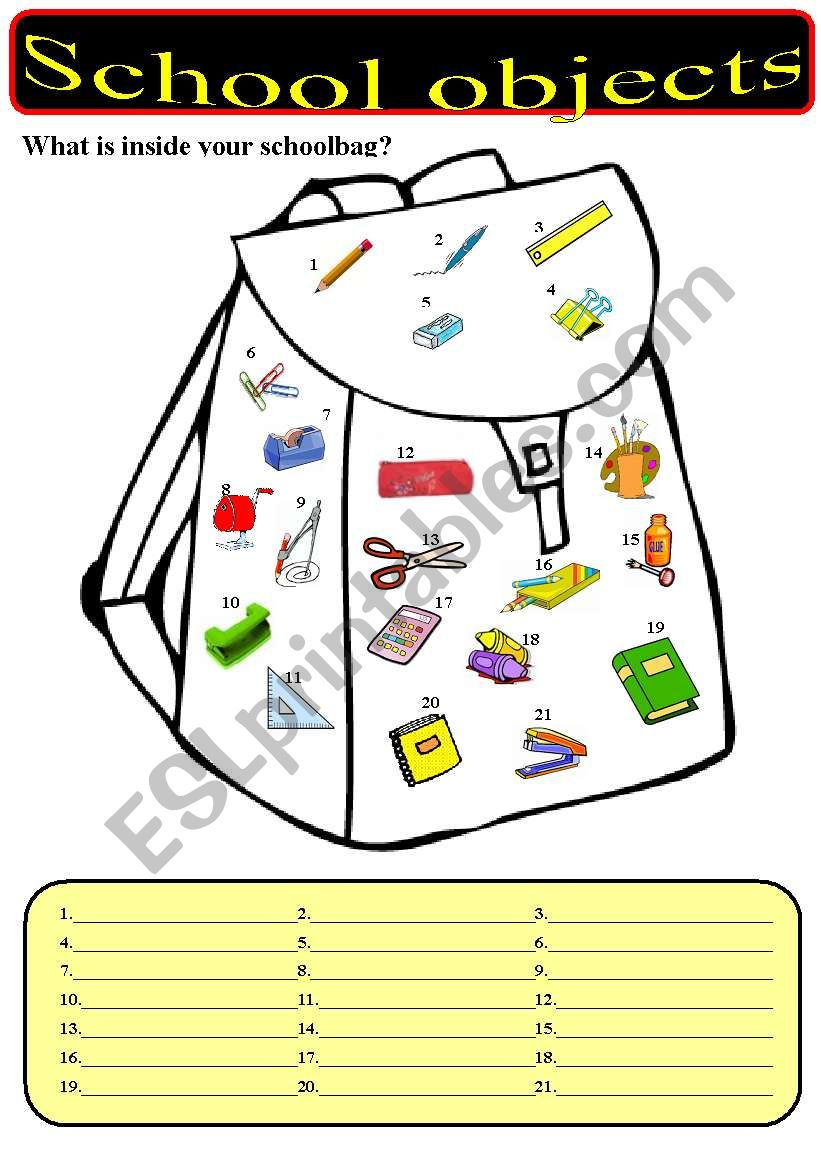 What is inside your schoolbag? - School objects.