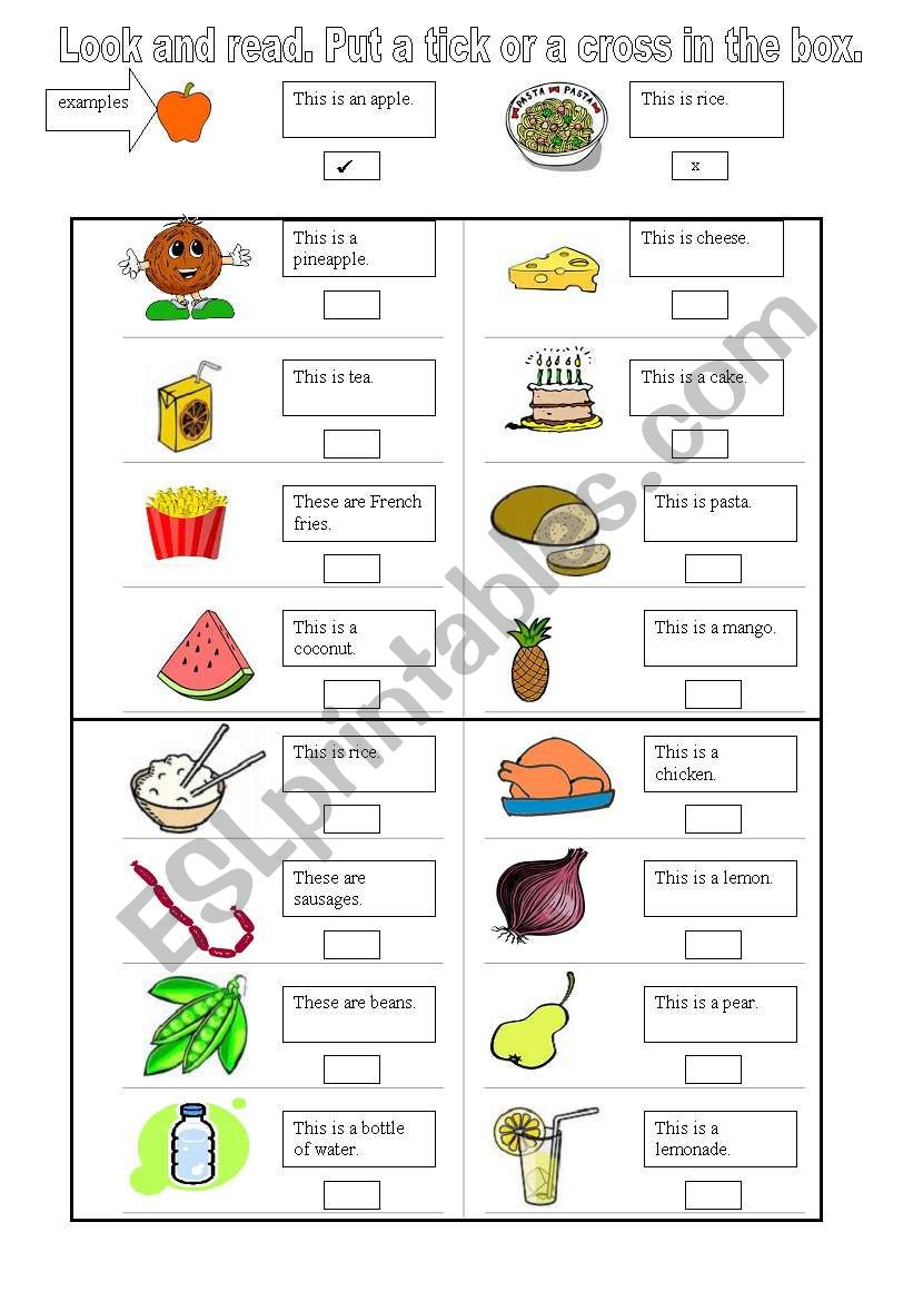 Food - Look and read. Put a tick or a cross in the box.