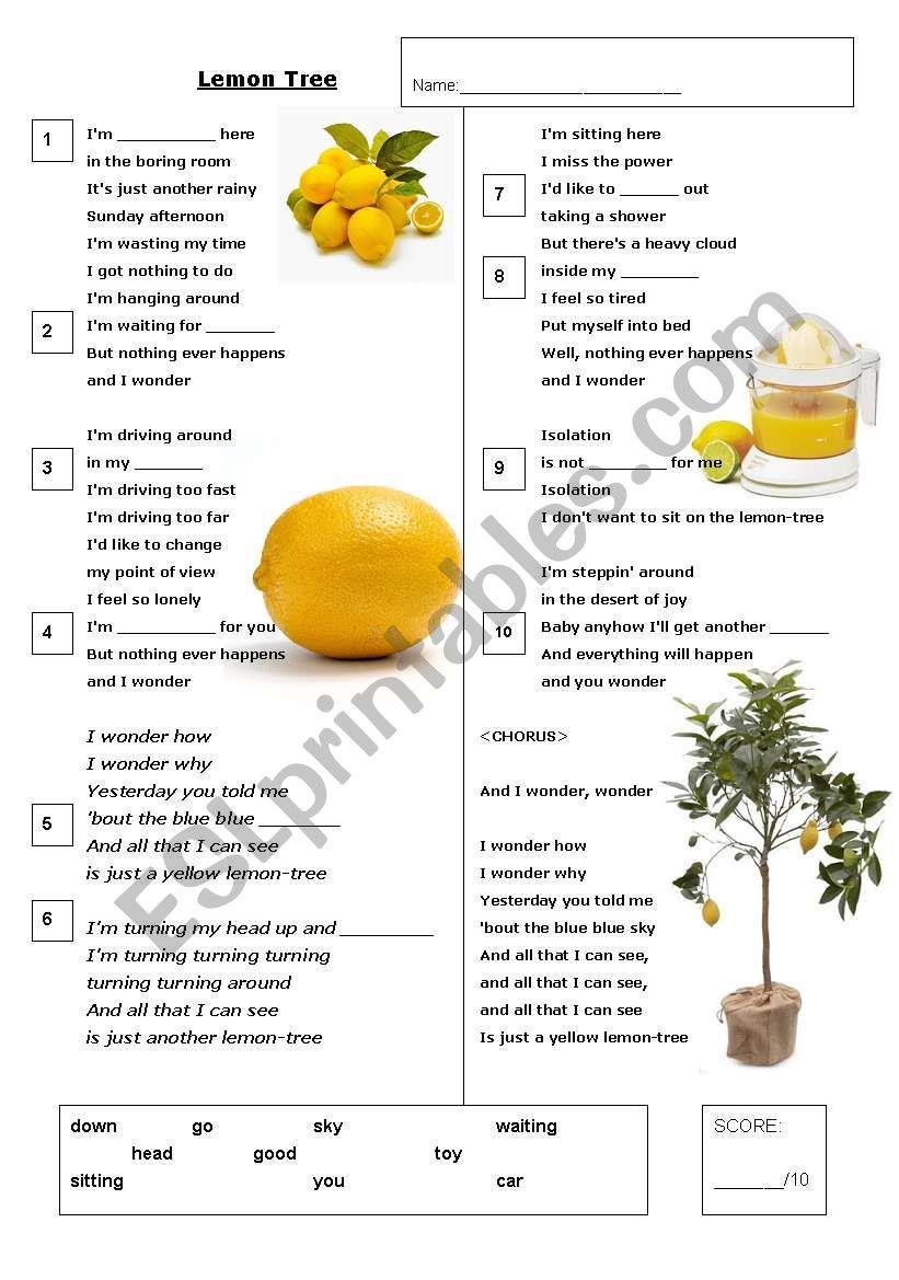 Lemon Tree - Karaoke Gap-fill worksheet