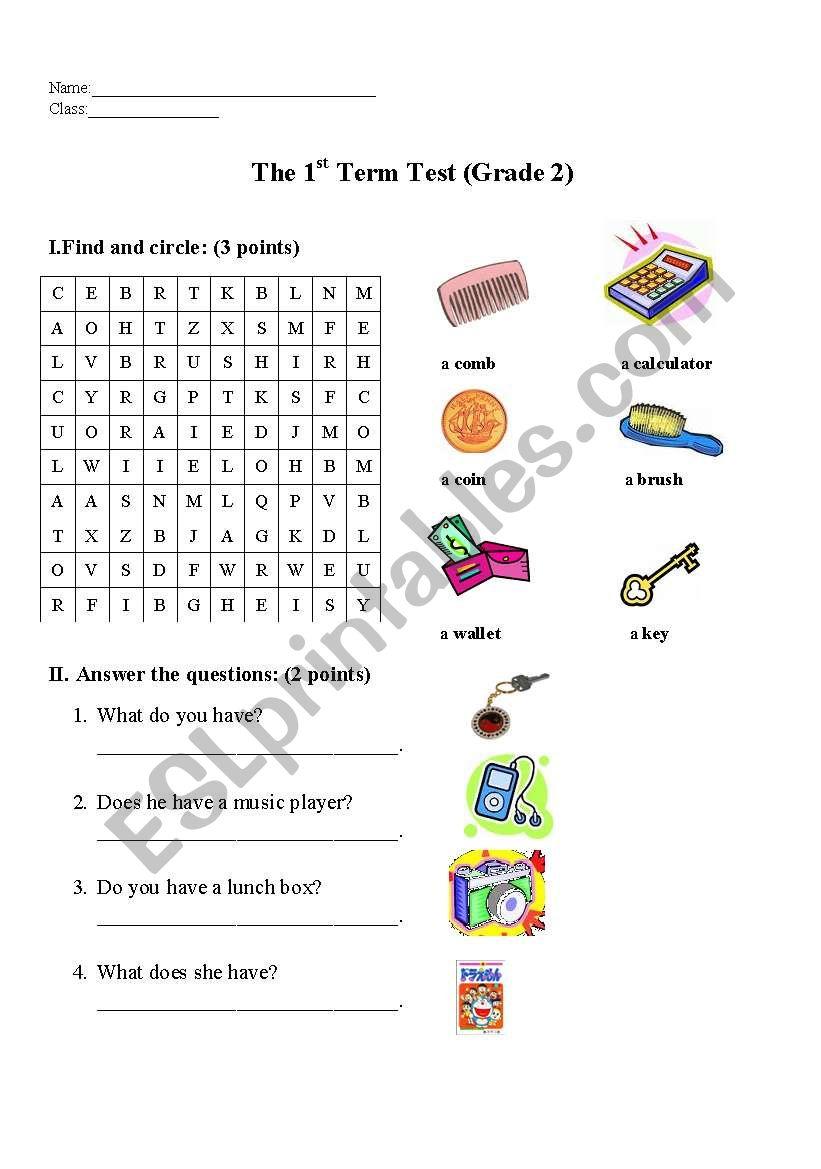 the first term test-grade 2 worksheet
