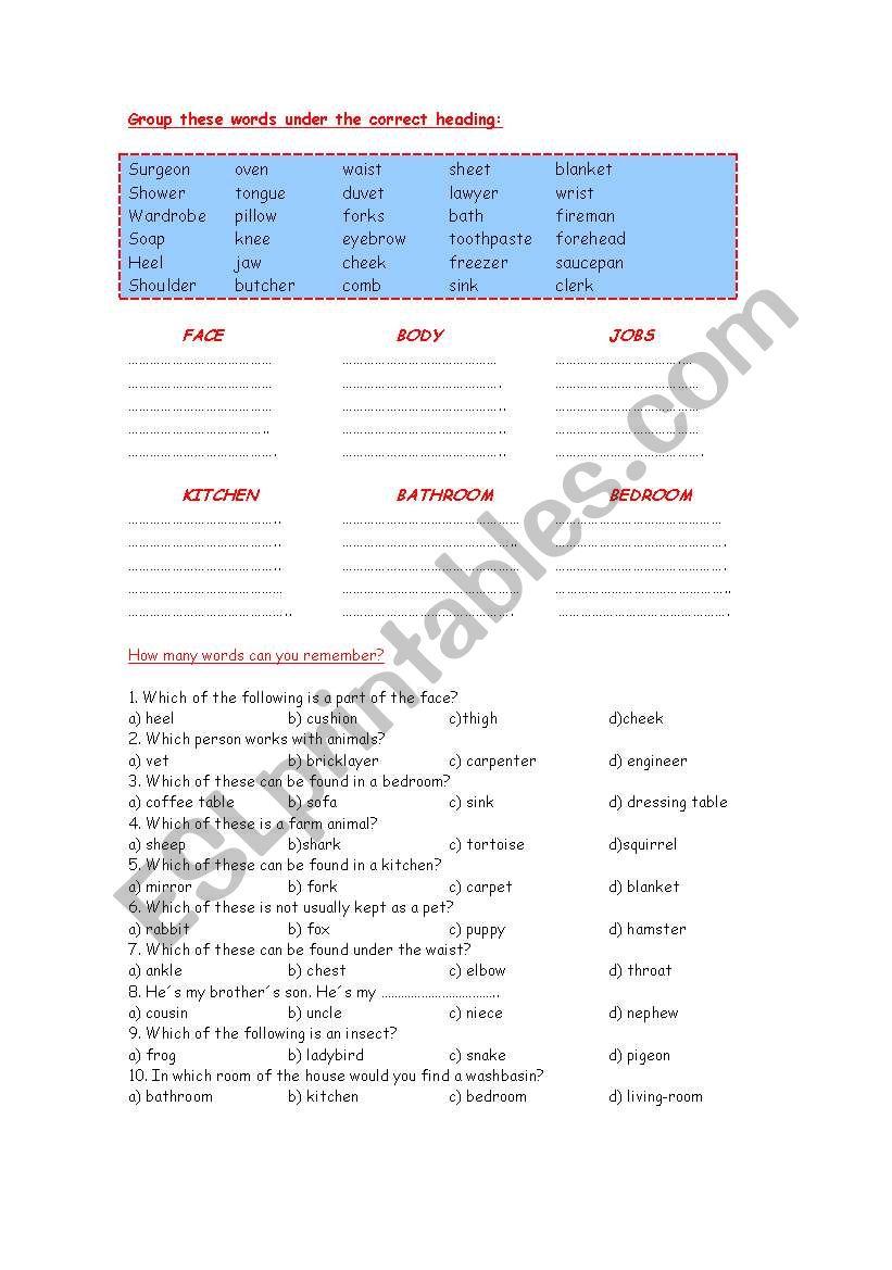 General Vocabulary worksheet