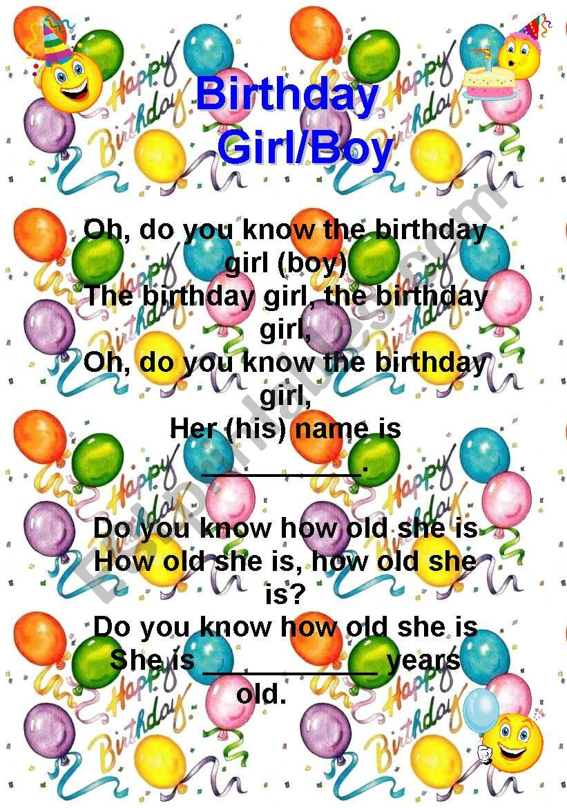 English worksheets: A different birthday song