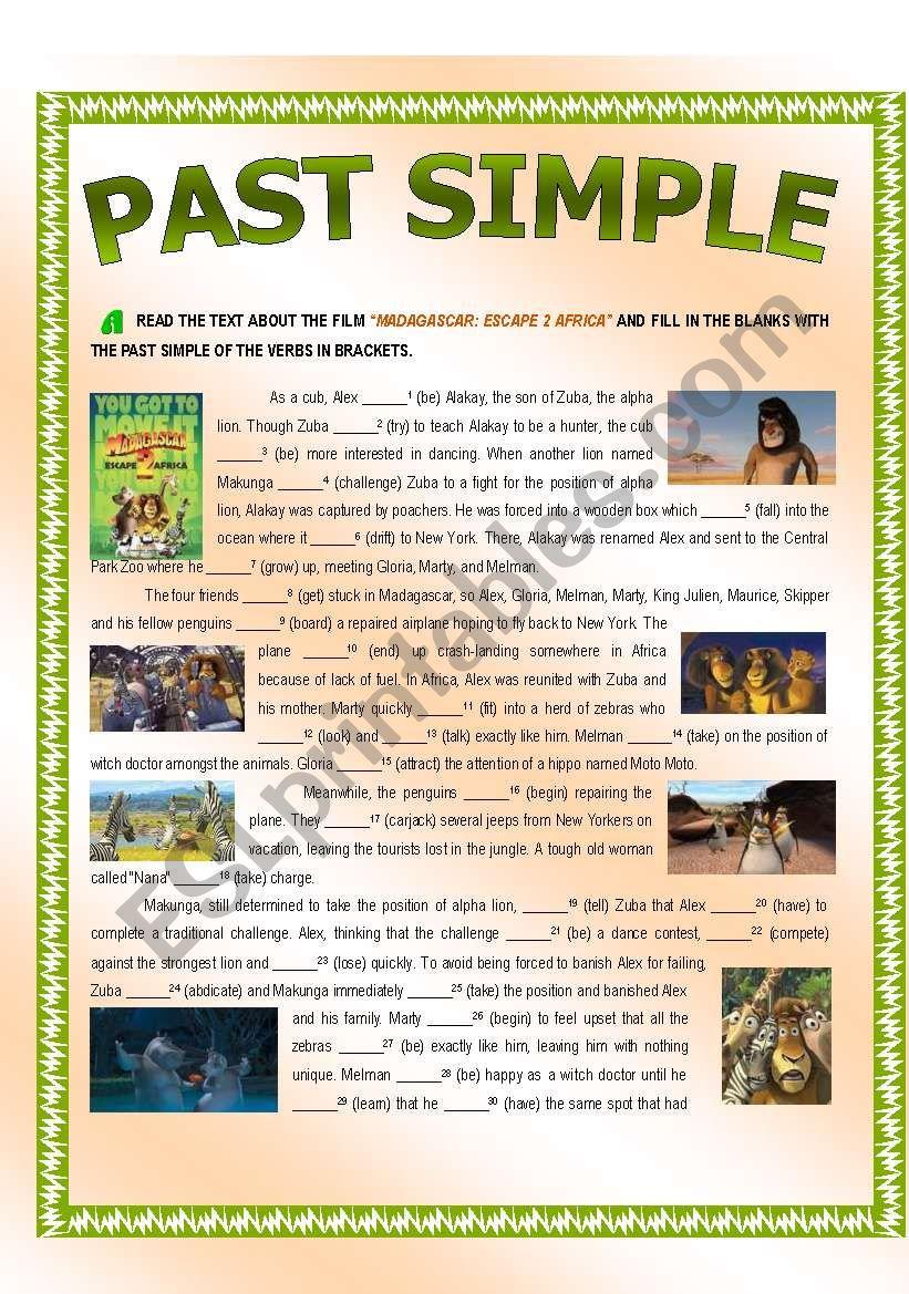 Past Simple - MADAGASCAR: ESCAPE 2 AFRICA