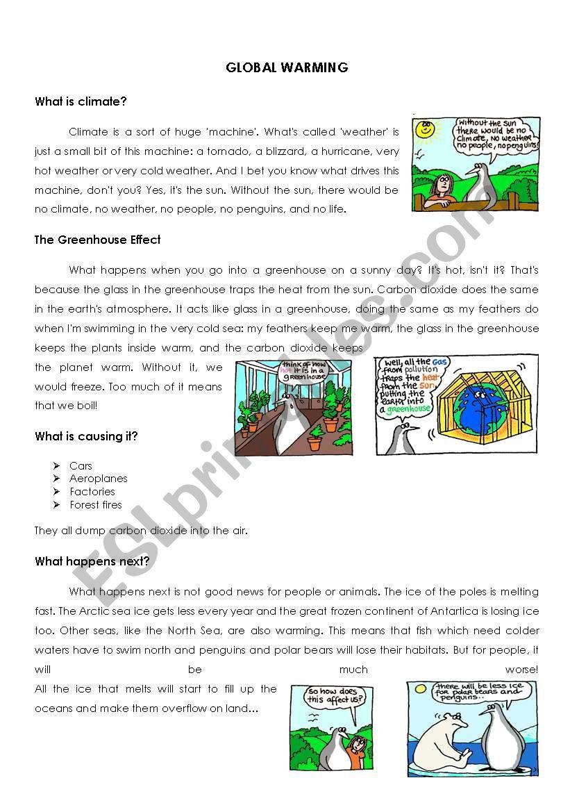 English Worksheets Global Warming Worksheet