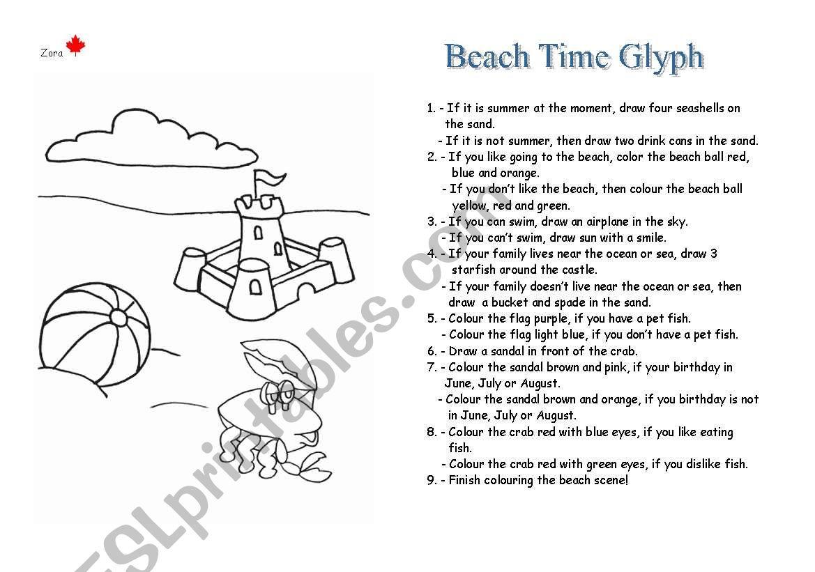 Beach Time Glyph worksheet