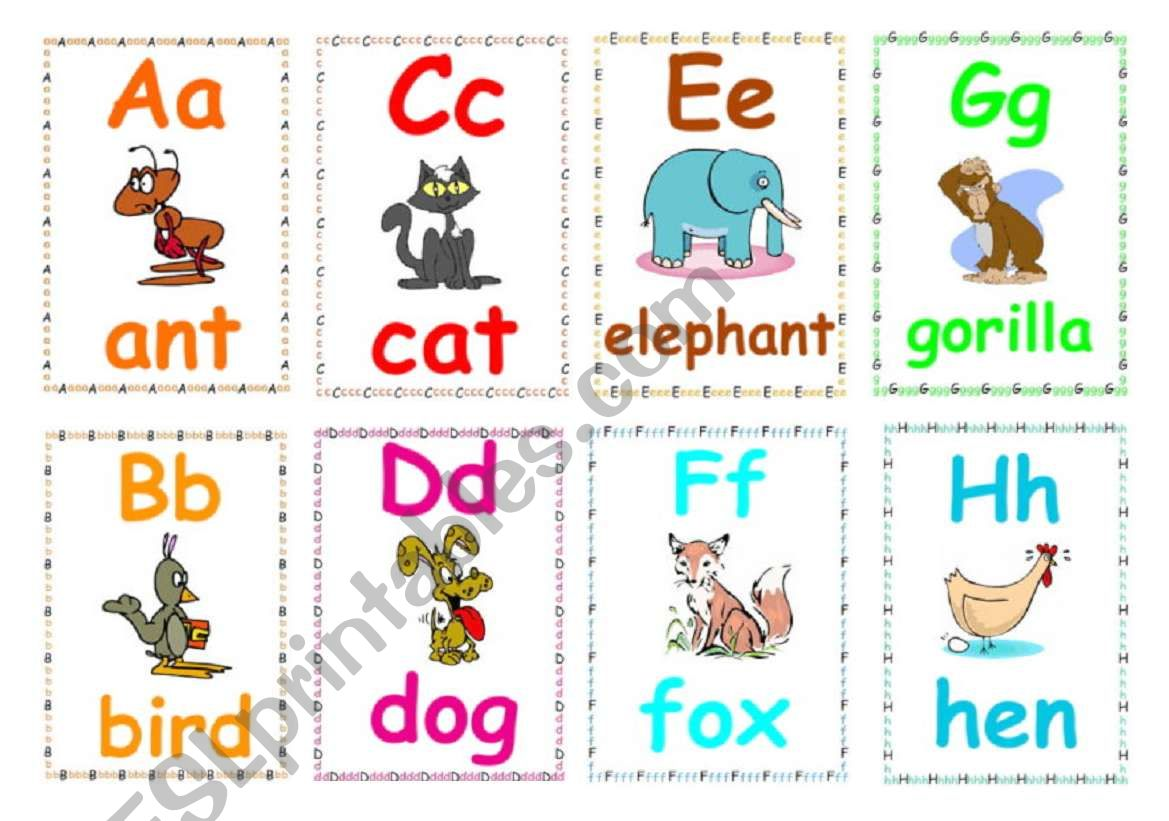 Alphabet flashcards 1 worksheet
