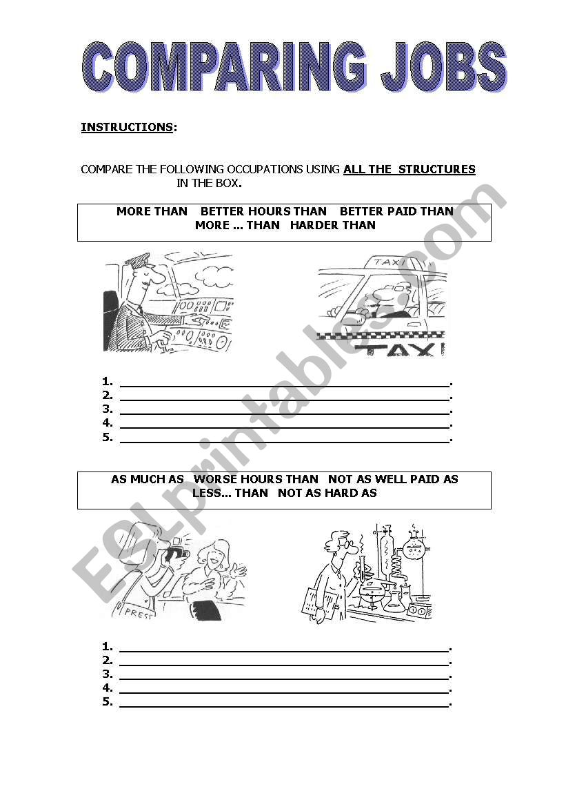 COMPARING JOBS - ESL worksheet by jequesad