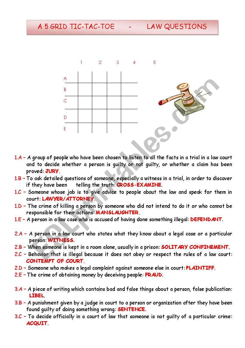 TIC-TAC-TOE - LAW QUESTIONS worksheet