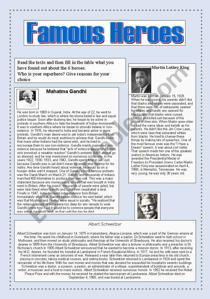 Famous heroes worksheet