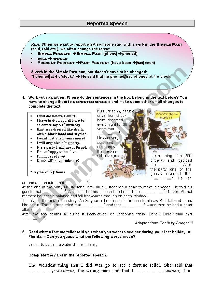 Reported Speech - Worksheet worksheet