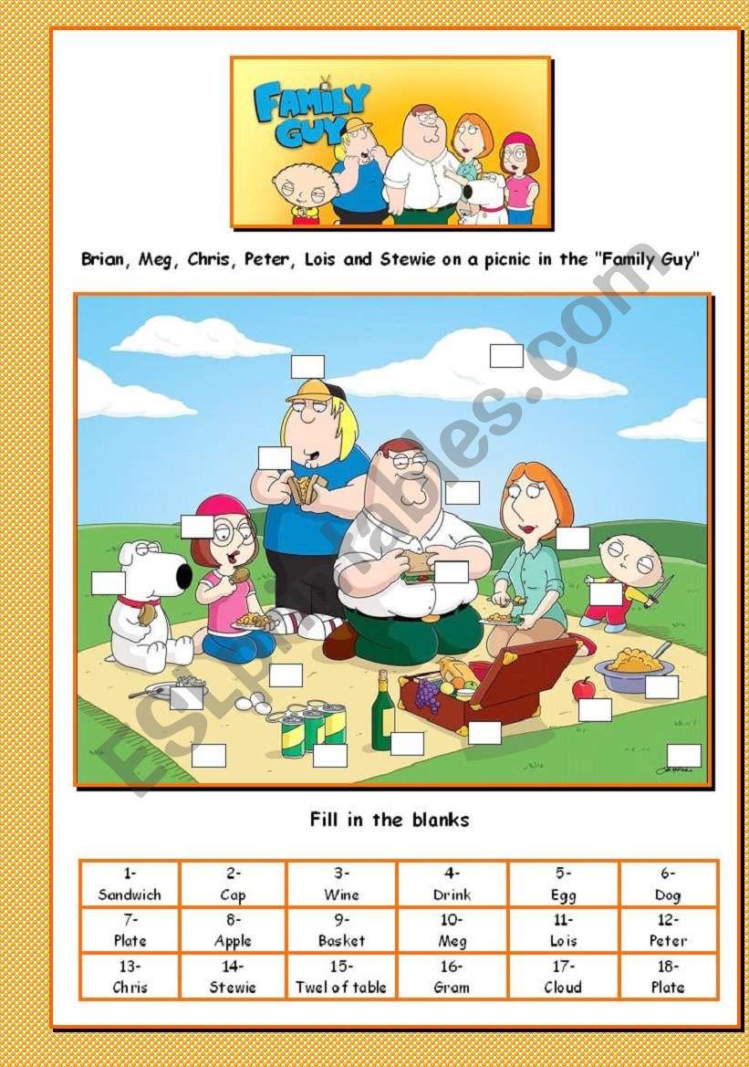 A Picnic In The Family Guy Part I Esl Worksheet By Venezababi