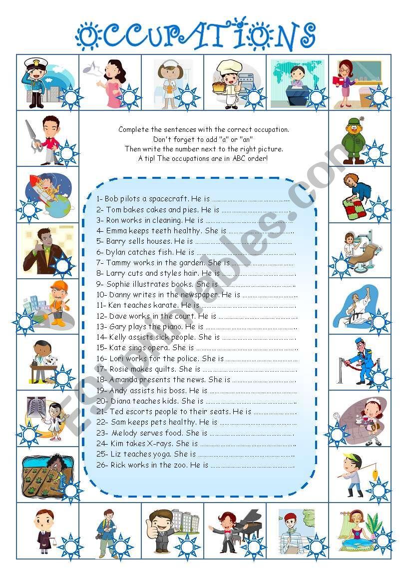 Occupations (4)  worksheet