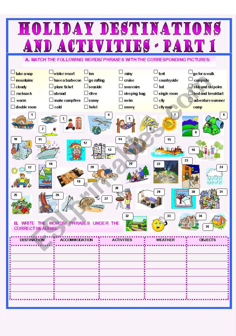 Holiday Destinations and Activities - part 1