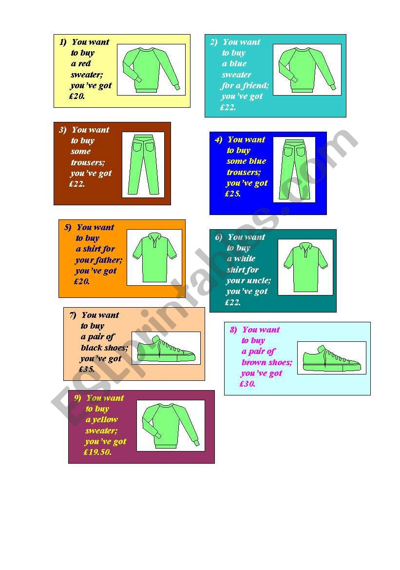 Let´s go shopping - activity cards and sample dialogue (2 pages)