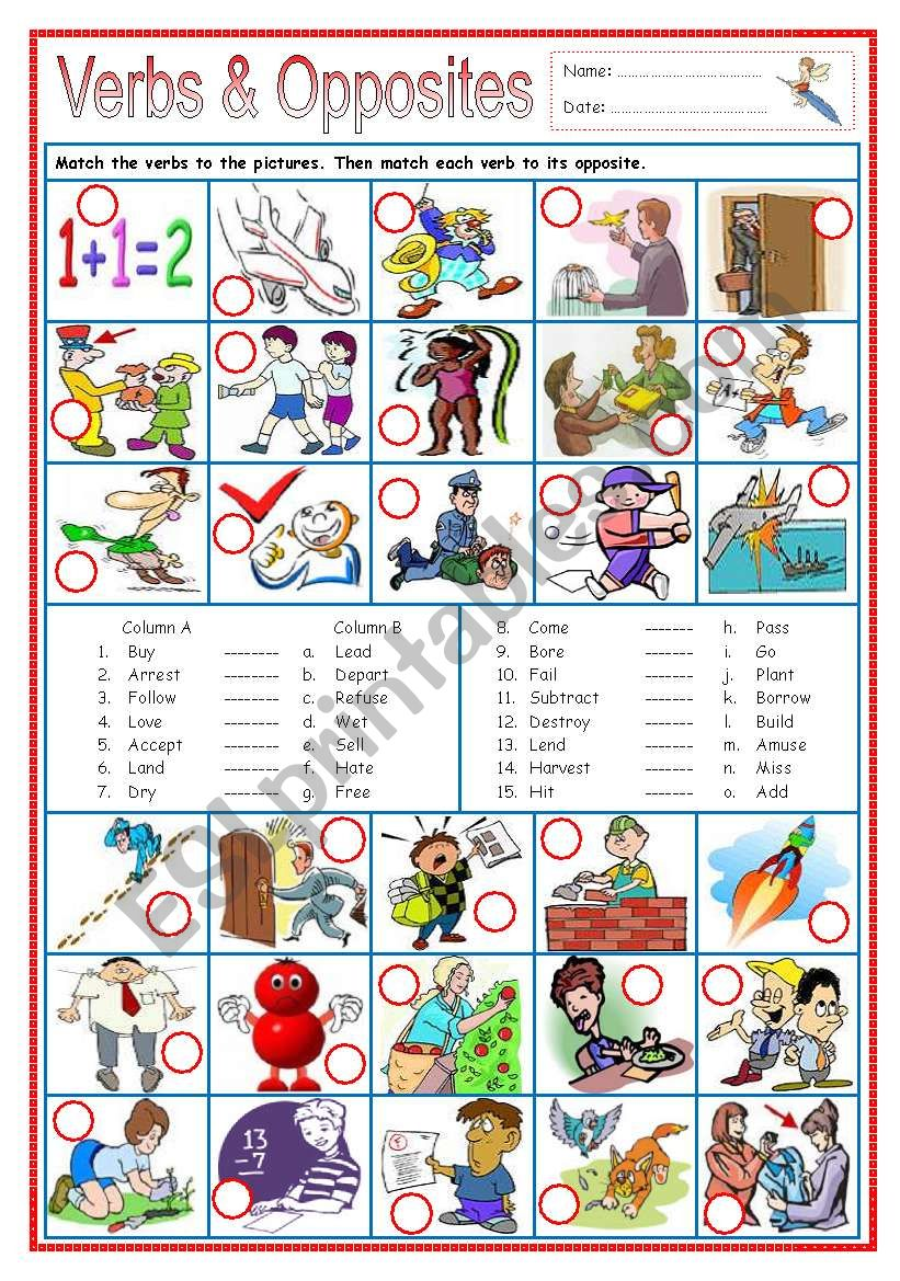 Verbs & Opposites 1 worksheet