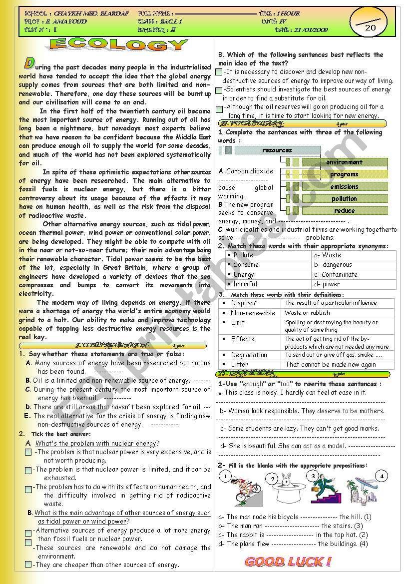 Exam about Ecology worksheet