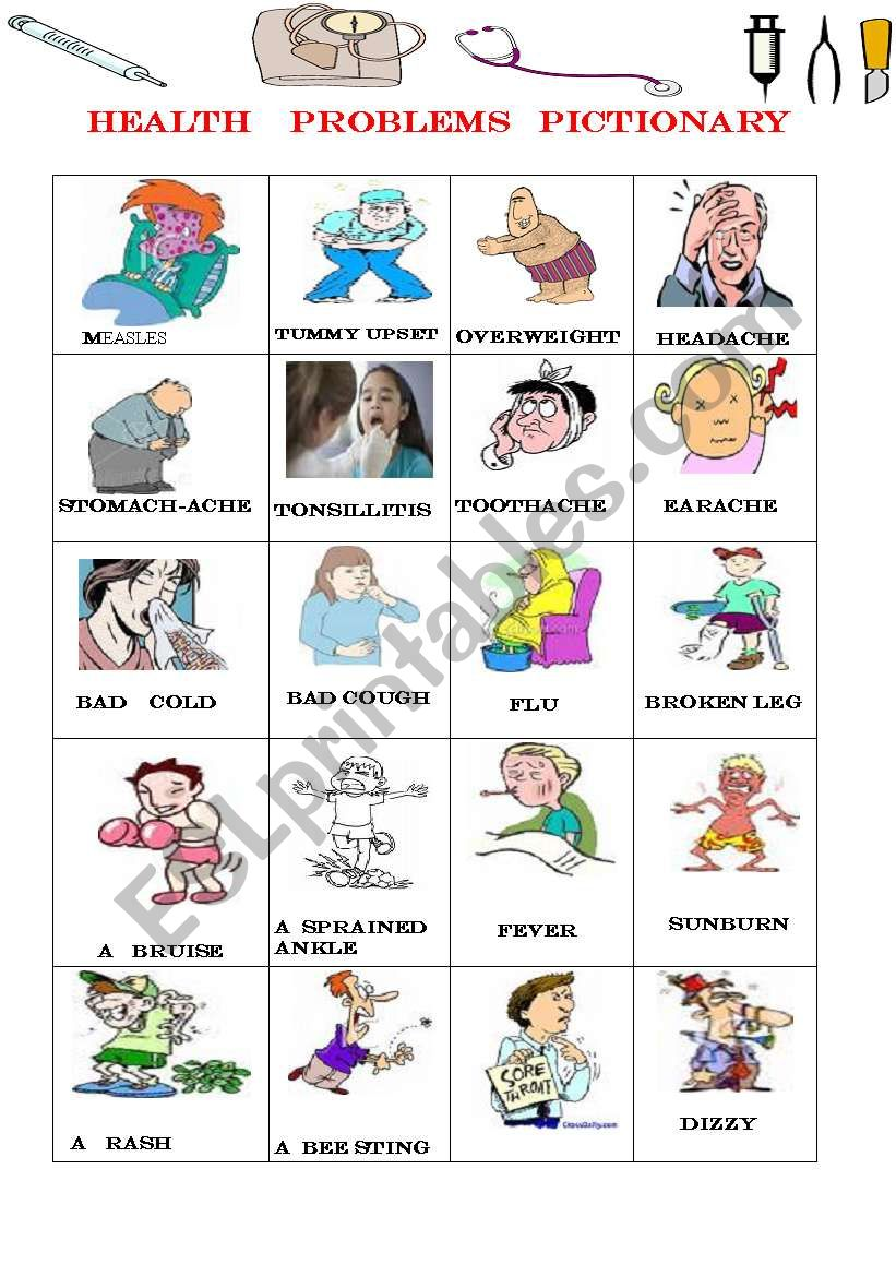 Health problems pictionary worksheet