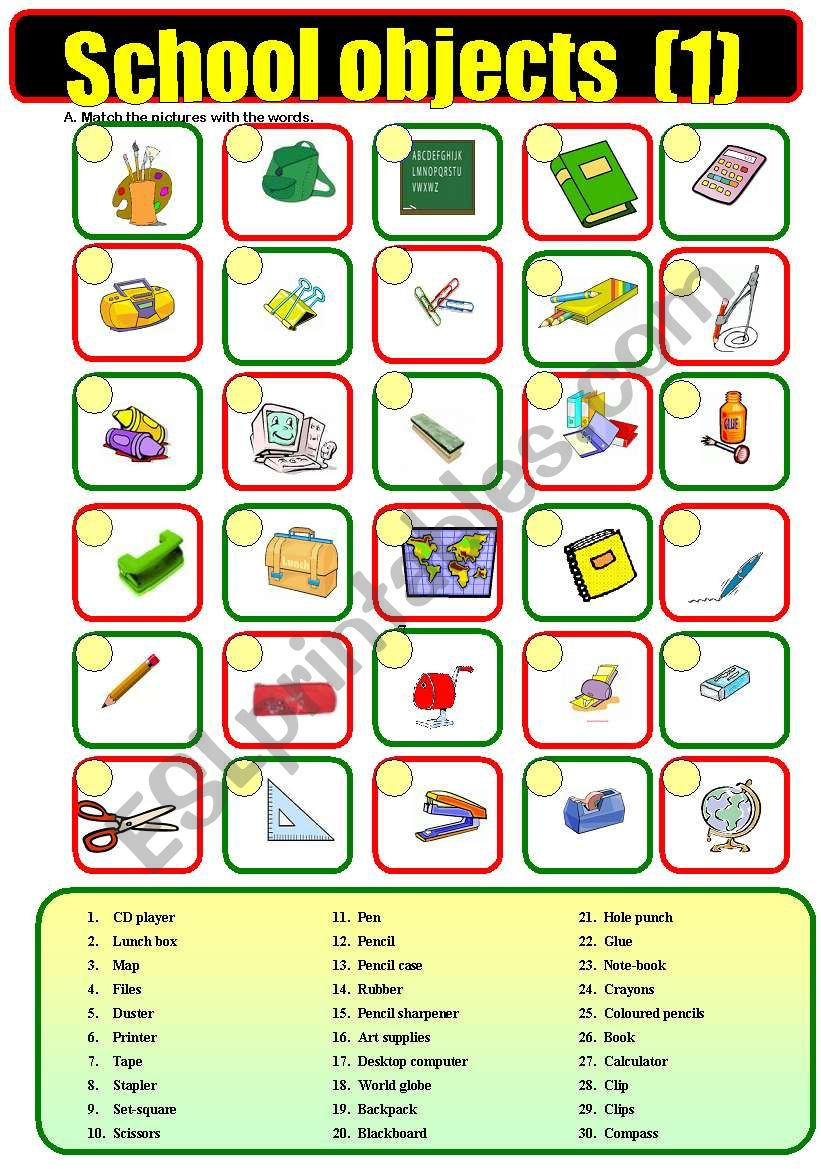 School  objects (1) worksheet
